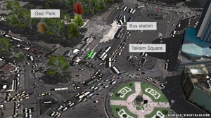 The current area around Gezi Park.  Source: BBC News.