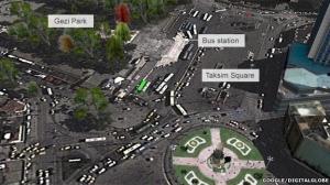 The current area around Gezi Park.  Source: BBC News.