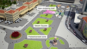 Building plans for a new mall on Gezi Park's property.  Source: BBC News.